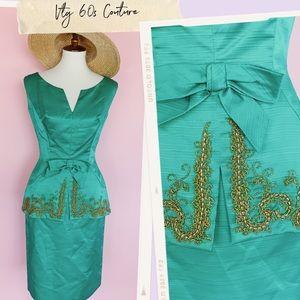 Vtg 60s Emerald Green Neusteters Wiggle Dress S M